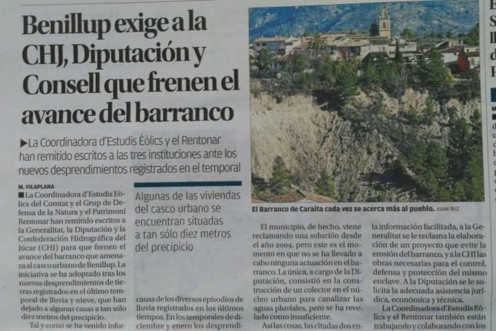 2017.02.04. Diario Información. Benillup exige a la CHJ, Diputación y Consell que frenen el avance del barranco